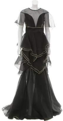 John Paul Ataker Ruffled Mermaid Dress w/ Tags