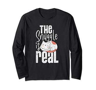 Cat Lady Gifts The Snuggle Is Real Grunge Pet Owner Long Sleeve T-Shirt