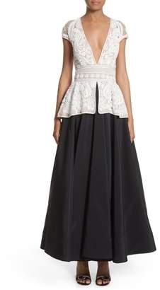 Naeem Khan 2-Piece Look Peplum Gown