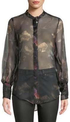 Equipment Boleyn Button-Front Floral-Print Sheer Silk Blouse