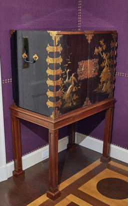 Alex Papachristidis Exclusive Japanese Black and Gilt Lacquer Cabinet on Later Mahogany Stand
