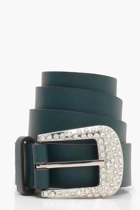 boohoo Diamante Buckle Boyfriend Belt