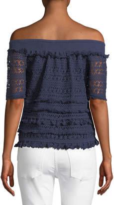 philosophy Off-The-Shoulder Crocheted Tee