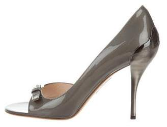 Prada Patent Leather Buckle-Accented Pumps