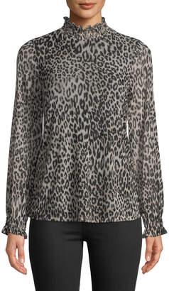 Neiman Marcus Mock-Neck Leopard-Print Mesh Top