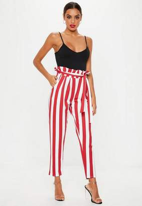 Missguided Red Paperbag Striped Pants
