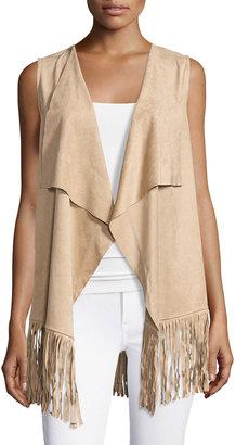 Bobeau Faux-Suede Fringed Vest, Sand $49 thestylecure.com