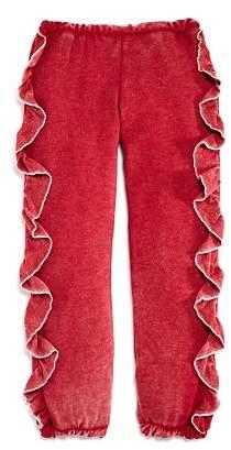 Chaser Girls' Vintage-Wash Ruffled Jogger Pants - Little Kid, Big Kid