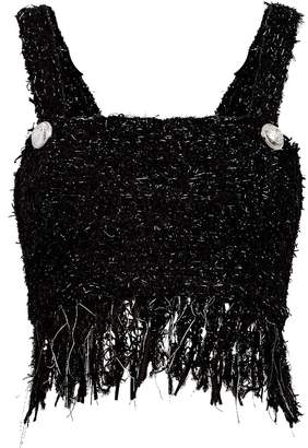 Balmain Fringed Tweed Flecked Cropped Top