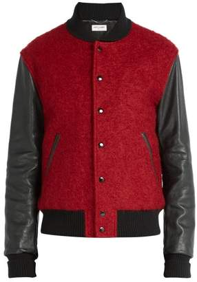 Saint Laurent Leather Panelled Wool Blend Bomber Jacket - Mens - Red