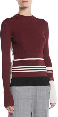 Calvin Klein Crewneck Long-Sleeve Striped Knit Sweater