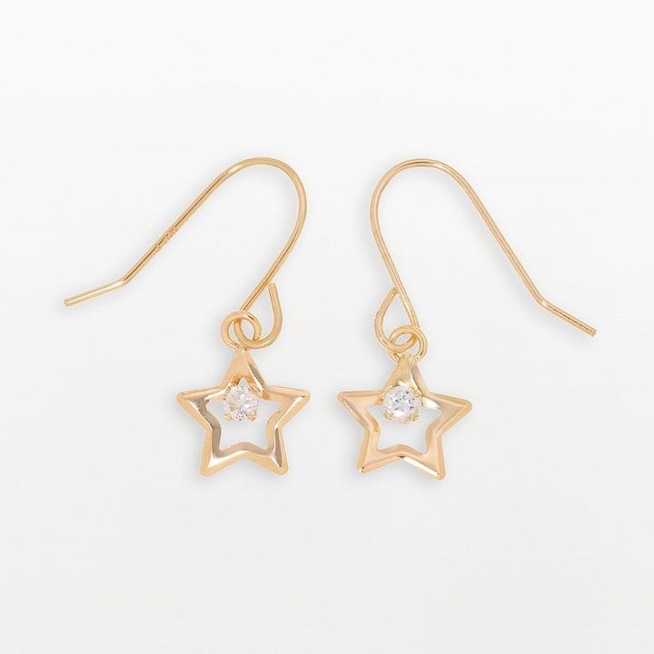 10k Gold Cubic Zirconia Star Drop Earrings