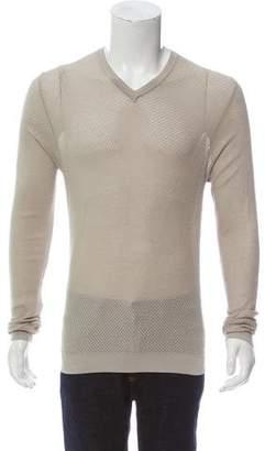 Calvin Klein Collection Mesh Overlay V-Neck Shirt