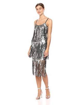 Dress the Population Women's Roxy Tiered Fringe Sequin Party Dress