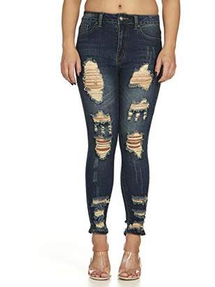 Cover Girl Women's High Waisted Cute Ripped Fray Distressed Fit Skinny Juniors