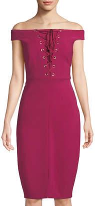 Jax Off-The-Shoulder Lace-Up Dress