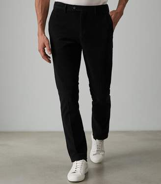 Reiss Our last order date for Christmas has now passed LOUIS MOLESKIN CASUAL TROUSERS Black