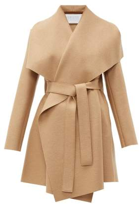 Harris Wharf London Draped Collar Pressed Wool Blanket Coat - Womens - Camel