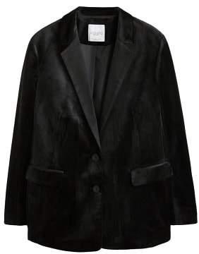 Violeta BY MANGO Velvet structured blazer