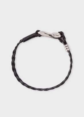 Paul Smith Men's Black Five-Strand Plaited Leather Bracelet