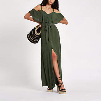 River Island Khaki cold shoulder maxi dress