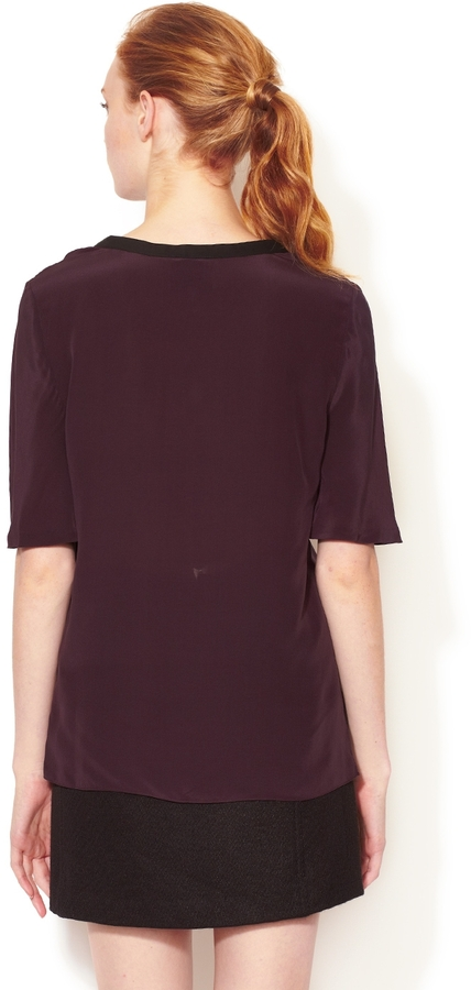3.1 Phillip Lim Silk Tee with Leather Combo Trim