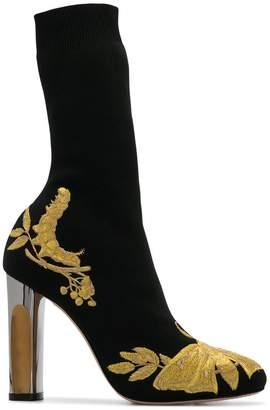Alexander McQueen embroidered sock boots