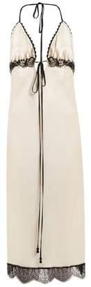 Johanna Ortiz Toya Lace Trimmed Silk Slip Dress - Womens - White Black