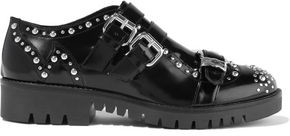 McQ Ellis Buckled Studded Glossed-leather Brogues