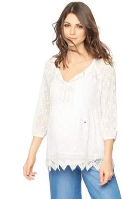 Luxe Essentials Denim Shirring Detail Maternity Blouse