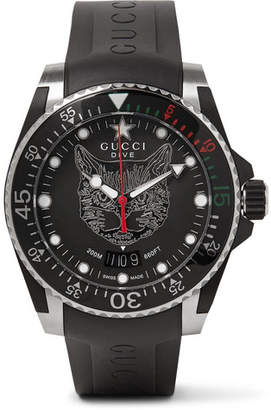 Gucci Dive 40mm Stainless Steel and Rubber Watch - Men - Black