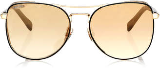 Jimmy Choo SHEENA Black and Gold Metal Aviator Sunglasses