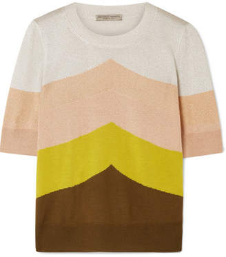 Bottega Veneta Color-block Metallic Wool-blend Sweater - Yellow