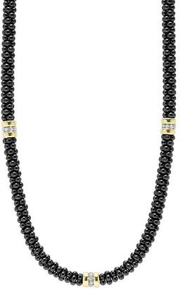 Lagos Black Caviar Ceramic Necklace with Diamond and 18K Gold Stations, 16""