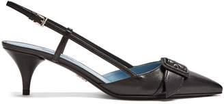 Prada Buckle kitten-heel leather pumps