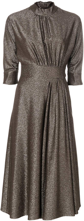 Prada metallic high-collar dress
