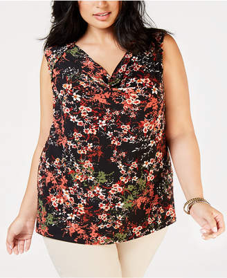 Nine West Plus Size Printed Drape-Neck Shell