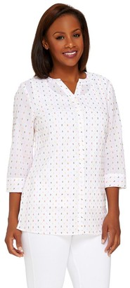 Denim & Co. Swiss Dot Button Front Blouse with Knit Tank