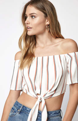 La Hearts Tie Front Off-The-Shoulder Top