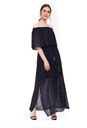 Wallis - Navy Polka Dot Bardot Maxi Dress