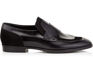 Jimmy Choo TEDI Black Shiny Calf Leather and Suede Loafers