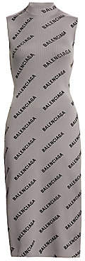 Balenciaga Women's Sleeveless Mockneck Logo Dress