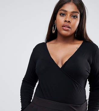 Asos DESIGN Curve body with deep wrap front and back in black