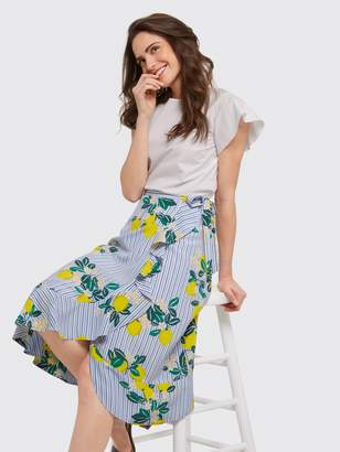 Draper James Collection Lemon Blossom Floral Wrap Skirt