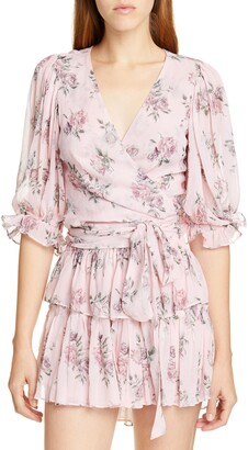LoveShackFancy Domino Floral Silk Wrap Blouse