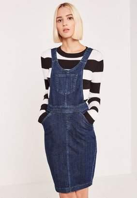 Missguided Blue Fitted Denim Sweater Dress