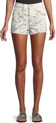Rag & Bone Ellie Floral-Print High-Rise Twill Shorts w\/ Western Back Yoke