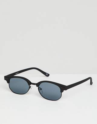 Asos Design Mini Retro Sunglasses In Matt Black With Smoke Lens