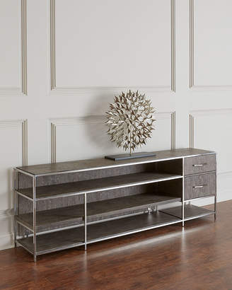Hooker Furniture Astoria Stainless Steel and Wood Shelved Console Table