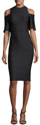 Shoshanna Columbus Cold-Shoulder Knee-Length Striped Dress
